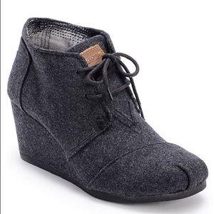 Tom's Grey Wool Desert Wedge Booties, Women's 6.5